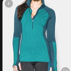 Women's UA ColdGear Cozy 1/2 zip- Med, Aqua/Blue